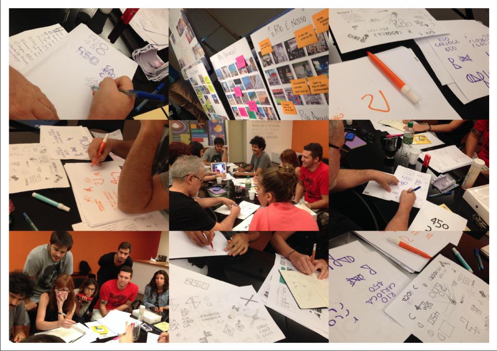 Equipe junta em processos de brainstorming